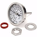 MRbrew Kettle Thermometer,Stainless Steel Thermometer with Lock Nut for Brewing and Distilling