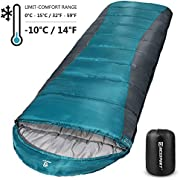 Bessport Sleeping Bag Winter | 32℉/0℃ Extreme 3-4 Season Warm & Cool Weather Adult Sleeping Bags Large | Lightweight, Waterproof for Camping, Backpacking, Hiking (Polyester Taffeta Lined -Grey)