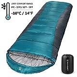 Bessport Saco de Dormir para Acampar, con Bolsa de Compresión, 3-4 Estaciones, Temperatura Extrema de -10ºC, para Viajes, Camping, Senderismo, 220x80cm-Blue&Grey