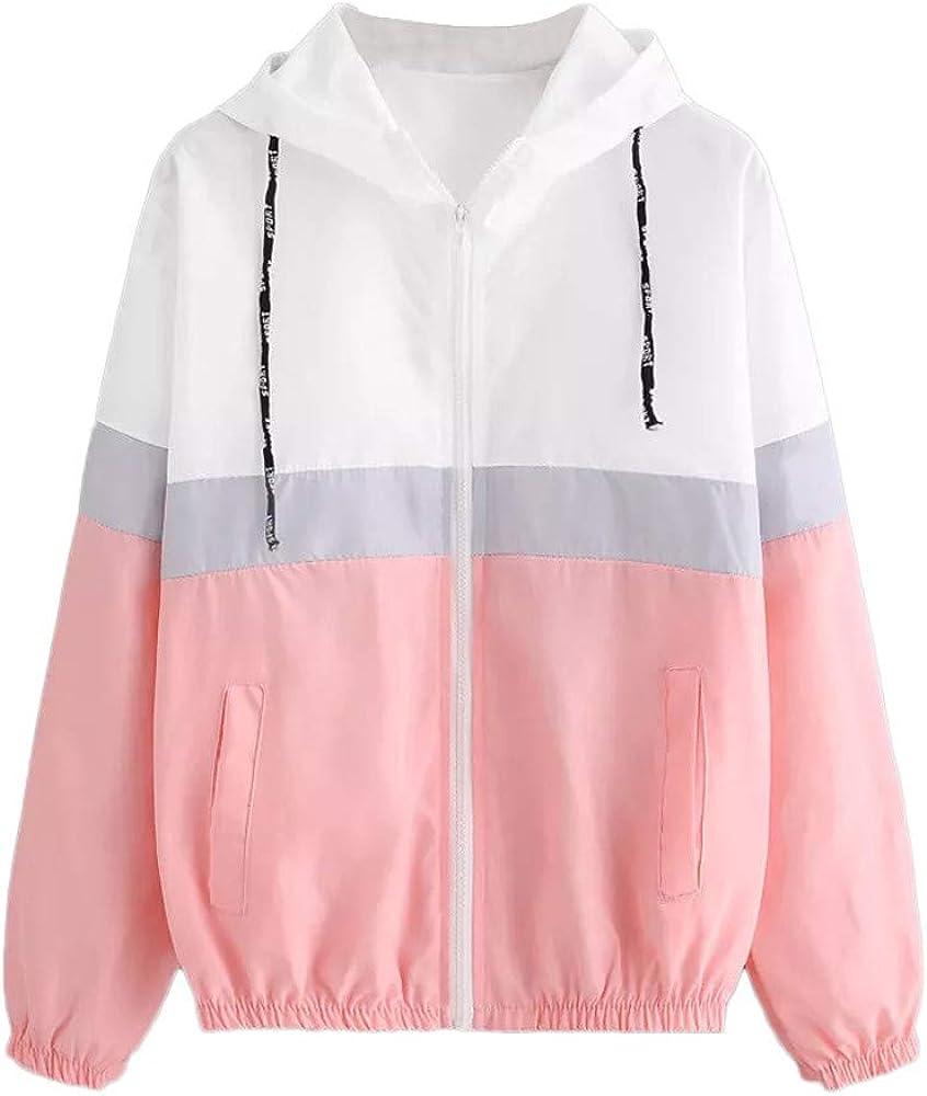 ZANFUN Women's Casual Color Block Drawstring Hooded Windbreaker Jacket Long Sleeve Thin Sport Coat Fashion Outercoat