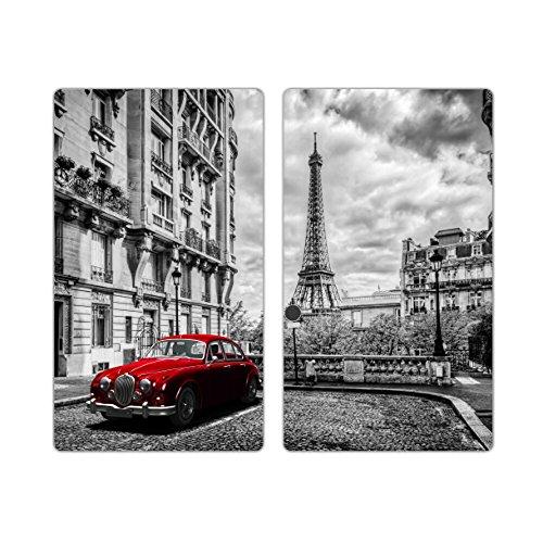 Herdabdeckplatten m. Noppen 2er-Set Schneidebrett Paris Wagen