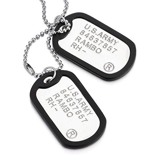 COOLSTEELANDBEYOND Klassischer Zwei Stücke Herren Militär Armee Dog Tag Anhänger mit Schwarz Silikon und 70cm Kugelkette