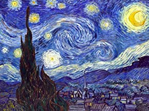 Wieco Art 36x48 Inch Starry Night Canvas Prints Wall Art by Van Gogh Classical Famous Artwork Huge Size Modern Blue Impressionist Sky Star Pictures Paintings for Living Room Bedroom Home Decorations
