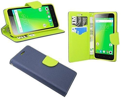 ENERGMiX Buchtasche Hülle Hülle Tasche kompatibel mit Lenovo C2 Wallet BookStyle mit Standfunktion in Blau-Grün (2-Farbig