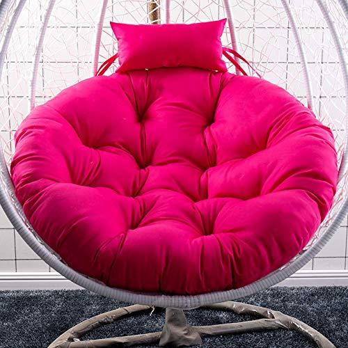N /A Chaise en rotin, coussin de hamac, coussin rond doux et confortable à suspendre, coussin de siège, coussin de siège épais, lavable, pour balancelle de jardin en osier, coussin de chaise non chaise rose rouge