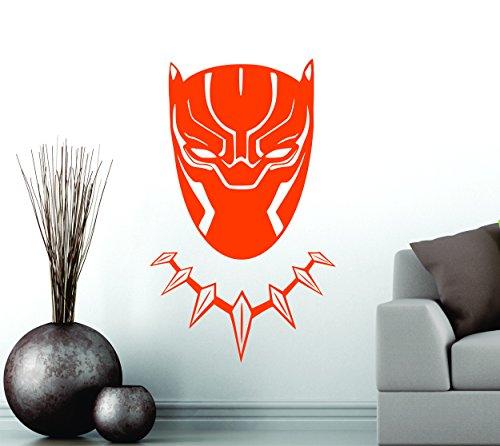 Black Panther Wakanda King Tête Masque Superhero enfants Cadeau Décor Art Sticker mural en vinyle de décoration de voiture autocollant - Large 90 cm x 55 cm - Orange