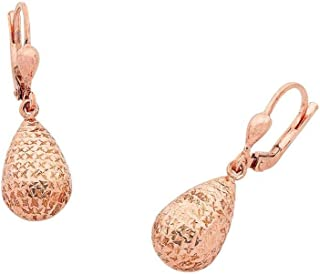 Bevilles 9ct Rose Gold Silver Infused Pear Shape Drop Earrings