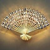 Luces de techo LED Sala de estar Cristal en forma de ventilador Lámpara de modelado noble de acero inoxidable Lámpara de pared para bar Tienda Vestíbulo Dormitorio-dorado
