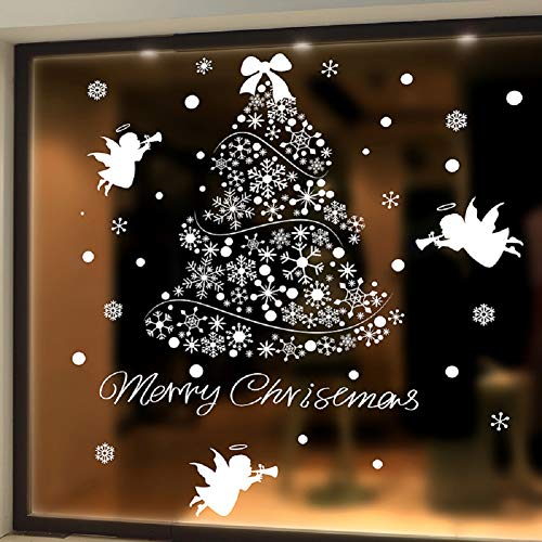 "SWORNA Holiday Series SN-62 Merry Christmas Tree Angel Snowflakes Removable Vinyl DIY Wall Window Door Mural Decal Sticker for Retail Store/Coffee House/Restaurant/Supermarket/Dress Shop 44""H X 39""W"