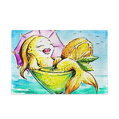 Rompecabezas de 500 piezas de sirena copa de vino pintura al óleo para juegos de arte para adultos adolescentes niños 2030421