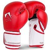 AQF Guantes De Boxeo para MMA Muay Thai Boxing Bag Guantes Boxeo De Kick Boxing Saco De Boxeo De Pie Y Punching con Capas Extra De Acolchado (Rojo, 16oz)
