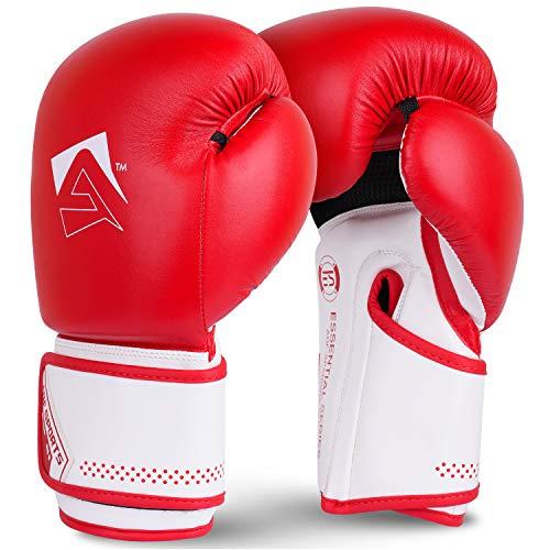 AQF Boxhandschuhe Für Boxen Und Box Training Box Handschuhe MMA, UFC Boxing Gloves Kickboxen Punching Sparring Boxsack Sandsack Muay Thai (Rot, 16oz)