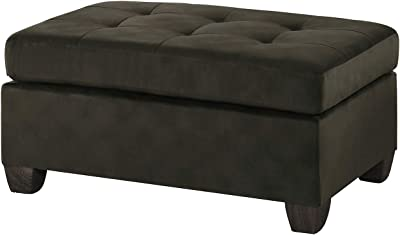 Benjara Benzara Upholstered Ottoman with Tufted Seat, Brown,