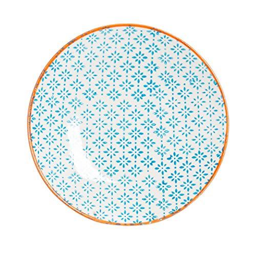 Petite assiette à gâteau/dessert ornée de motifs - 180 mm - imprimé bleu/orange