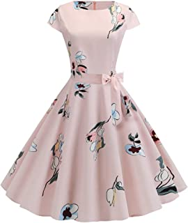 Vintage Floral Printed Women O-Neck Evening Dress Printing Party Prom Swing Dress