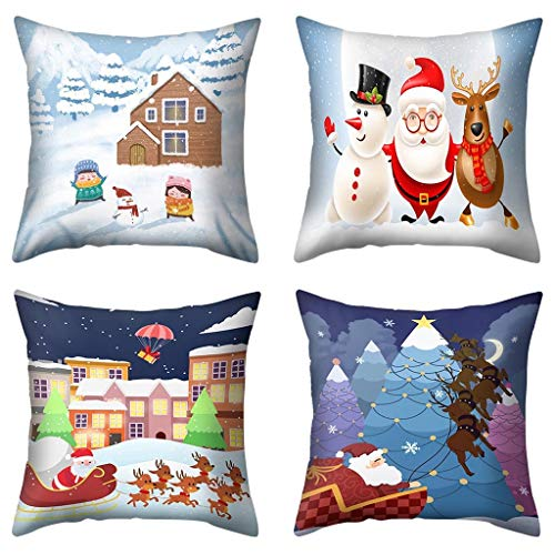 4PCS Pillow Case, Christmas Decorations Print Polyester Sofa Car 17.7 x 17.7 inch Cushion Cover Home Decor Merry Christmas Decorative Ornaments Party Decor Gifts