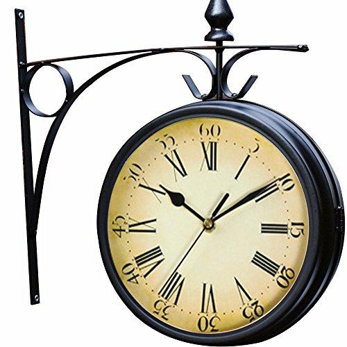 Wetterfeste Retro-Garten-Uhr für draußen im Design Paddington-Station, Wanduhr, doppelseitig mit Außenhalterung 20 cm