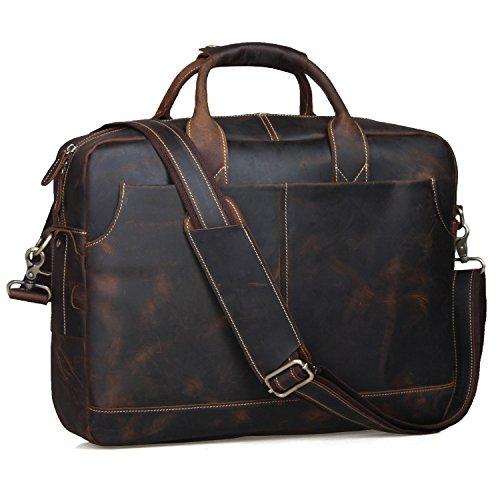S-ZONE Herren 17-Inch Laptoptasche Aktenkoffer Vintage Echtes Leder Messenger Bag Umhängetasche Abeitstasche Notebooktasche
