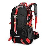 Lixada 40L Resistente al Agua Mochila, Portátil Mochila Trekking, Laptop Daypack, Durable Impermeable, para Escalada, Viajes, Actividades al Aire Libre (Negro y Rojo)