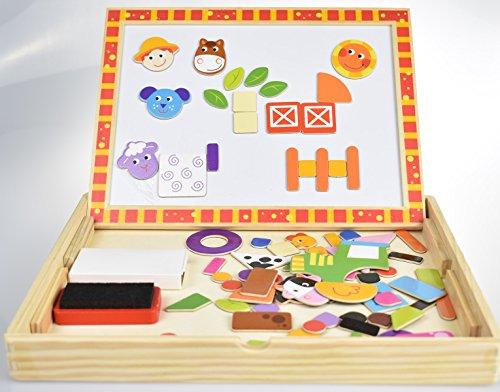 Tooky Toy- Farm Puzzle Animaux de la Ferme magnétic en Bois Double Faces, TKF014, Multicolore, 30 x 23 x 21.5 cm
