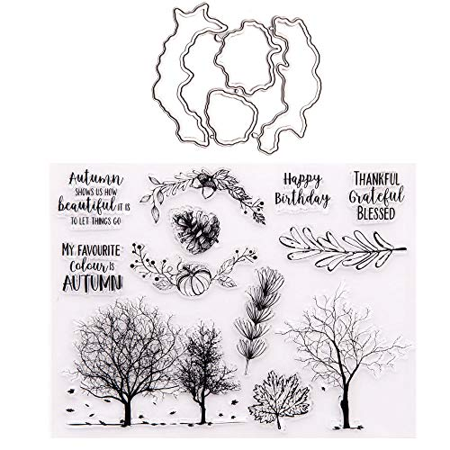 Autumn Trees Pine Nuts Pumpkin Clear Rubber Stamps and Dies Set for Card Making Scrapbooking Words My Favourite Colour is Autumn Thankful Grateful Blessed Thanksgiving Stamps and Metal Cuts
