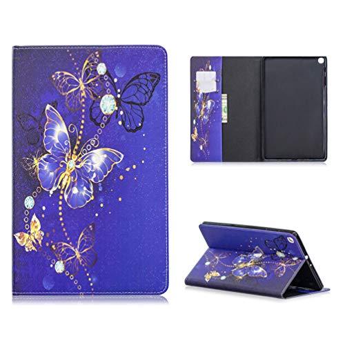 Tablethülle für Samsung Galaxy Tab A (10,1 Zoll) 2019 /T510/T515 Hülle Case PU Leder Tasche Schutzhülle Flip Cover Abdeckung Klapphülle Ständer Karten Fächer Magnetverschluss Deckel-Schmetterling1