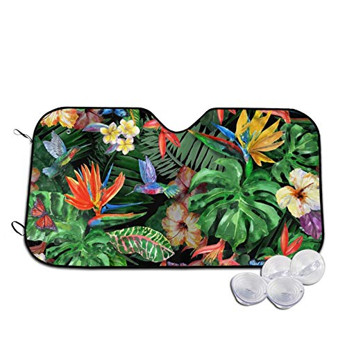 Tropical Bush Painting Automotive Windshield Sunshades, Perfect Durable Windshield Sun Shades for Car Auto Truck SUV,