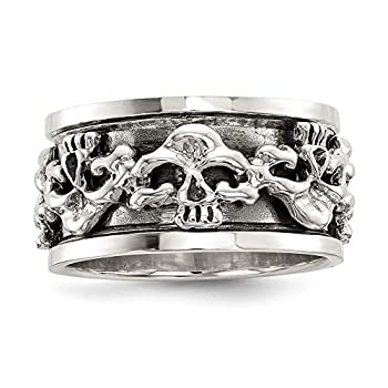 925 Sterling Silver Spinning Center Skull Band Ring Size 11.00 Man Fine Jewelry For Dad Mens Gifts For Him