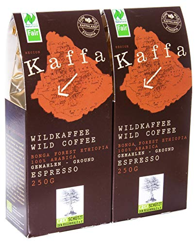 Original Food Bio Kaffa Wildkaffee Espresso, gemahlen, 2er Pack (2 x 250 g)