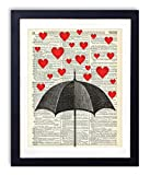 Raining Hearts Upcycled Vintage Dictionary Art Print 8x10