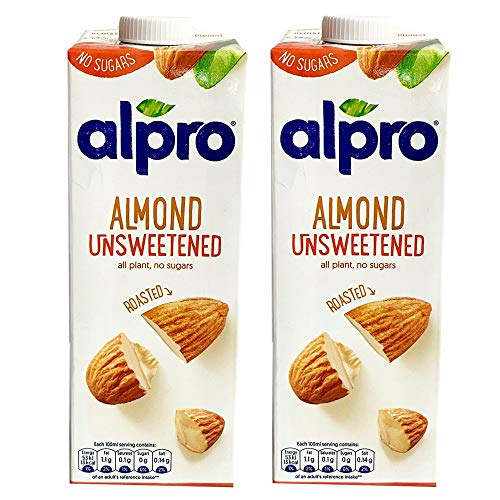 2 x 1 Litre Alpro Unsweetened Roasted Almond Milk Low Fat Vegan Drink
