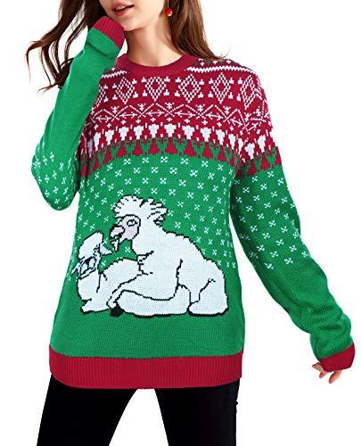 QUALFORT Maglione natalizio da donna, stile simpatico - - S
