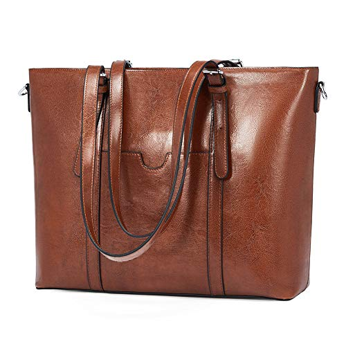 BROMEN Brand Product: The laptop tote is made of top quality materials by professional craftsmen. faux leather, durable and soft fabric lining, with silver hardware. This is absolutely a much more excellent quality bag and more durable than other lap...