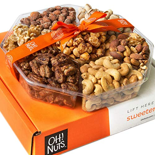 Oh! Nuts Holiday Gift Basket, 1LB Roasted Nut Variety Fresh Assortment Tray, Christmas Gourmet Food...