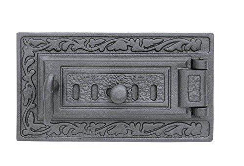 Aschetür Revisionstür Kachelofentür Ofentür Backofentür Pizzaofentür Holzbackofentür Steinbackofentür aus Gusseisen mit Luftregulierung | Außenmaße: 325x175 mm | Öffnungsrichtung: rechts