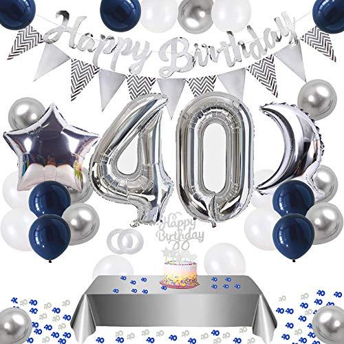 BOYATONG 40. Geburtstag Dekoration,Silberblau 40 Geburtstag Dekorationen,Silber Luftballons Number Folienballon 40 Luftballons Tischdecke Happy Birthday Girlande Banner Torten Deko für Männer Frauen