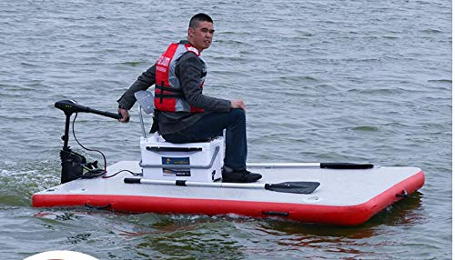 Lowest Prices! Inflatable Motorized Fishing Platform Paddle Board Surf Board Dingy Raft Boat (8x4ft....