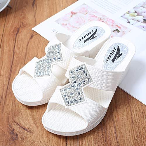 LNLJ Zapatos de Masaje de Pie Moda Pantuflas Mujer Sandalias Blancas 37 Zapatos de Masaje de Salud