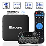 EVANPO Android 7.1 TV Box Smart TV Player Media Box Quad Core CPU 2GB 16GB Support 4K/ 3D/ 2.4GHz WiFi Set Top Boxes Android Mini PC with Wireless Mini Keyboard (Backlit)