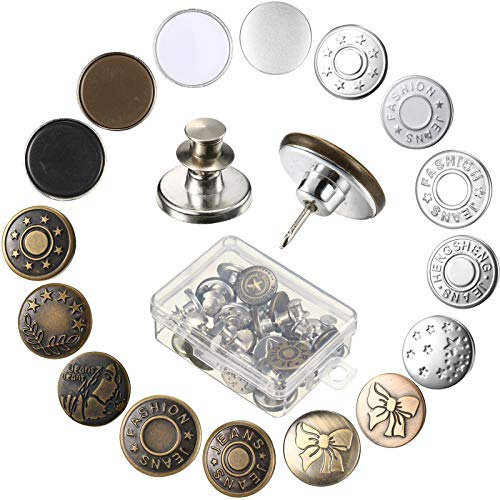 Juinte 16 Sets Button Pins for Jeans and No Tools Instant Jean Button Pins for Pants Instant Jean Button Replacement Button Adjuster Simple Installation with Storage Box for Clothes Jeans Jackets