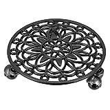 Wobekuy 1 # Macetero de hierro fundido con ruedas resistentes y redondas para plantar con ruedas, bandeja de rodillo para coaster moving (negro antiguo)