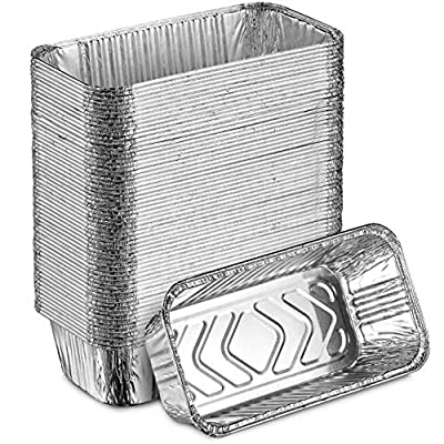 """Super-Thick Aluminum Mini Loaf Baking Pans - Standard Size 8.5""""x4.5"""" Loaf 2LB Cooking Tins - Eco-Friendly Recyclable Aluminum - Portable Food Storage Containers"""