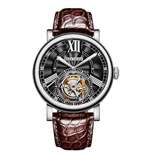 REEF TIGER Herren Uhr analog Handaufzugwerk mit Leder-Alligator Armband RGA1999-YBS
