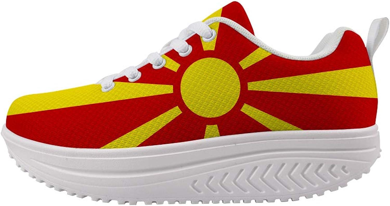Owaheson Swing Platform Toning Fitness Casual Walking shoes Wedge Sneaker Women Macedonia Flag