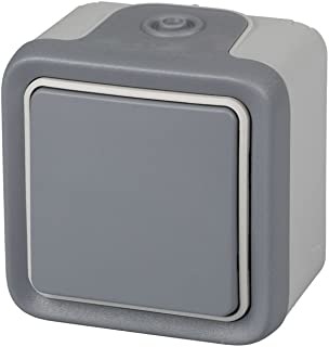 Legrand, 191502Plexo–Wall Switch - Push-Button Switch from The Plexo Range, Waterproof, Outdoor, Water-Resistant (IP55), Grey