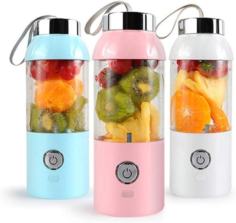 LI_HUA juicer buitenshuis, mini-juicer cup, draagbaar, USB-mixer, oplaadbaar, fruitpers voor thuis 550 ml Wit