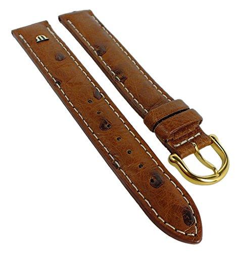 Maurice Lacroix Correa de repuesto XL para reloj de pulsera, piel de avestruz, marrón 30554, ancho de la trabilla: 20 mm, cierre: oro amarillo