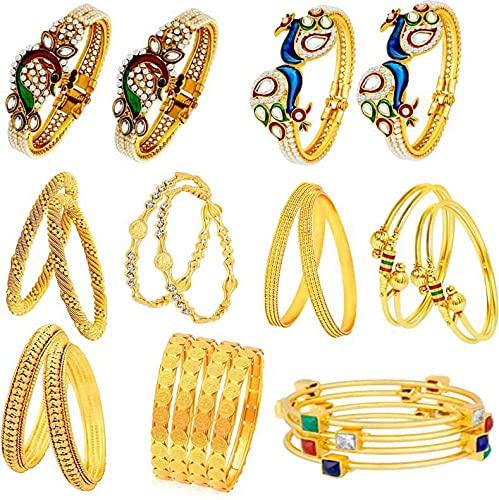 Juego de pulsera para niñas de aleación con perla chapada en oro (paquete de 9) tamaño 2-6