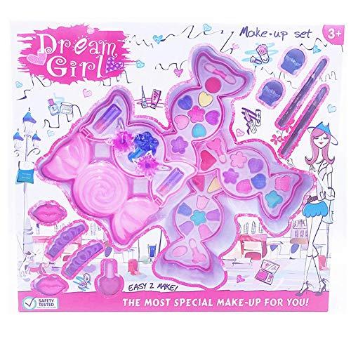 Kinder-Kosmetik-Set Mädchen Haus Spielzeug Candy Makeup Box Waschbares Make-up-Set für Kinder mit blinkendem Kosmetiketui