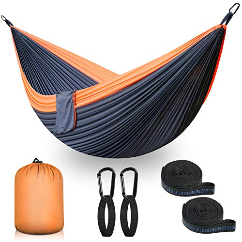 Ultraleicht Reise Camping Hängematte | 300 kg Tragfähigkeit, (300 x 200 cm) Fallschirmnylon | 2 x Premium Karabiner, 2 x Nylonschlingen inklusive | Für den Outdoor Indoor Garden (schwarz)